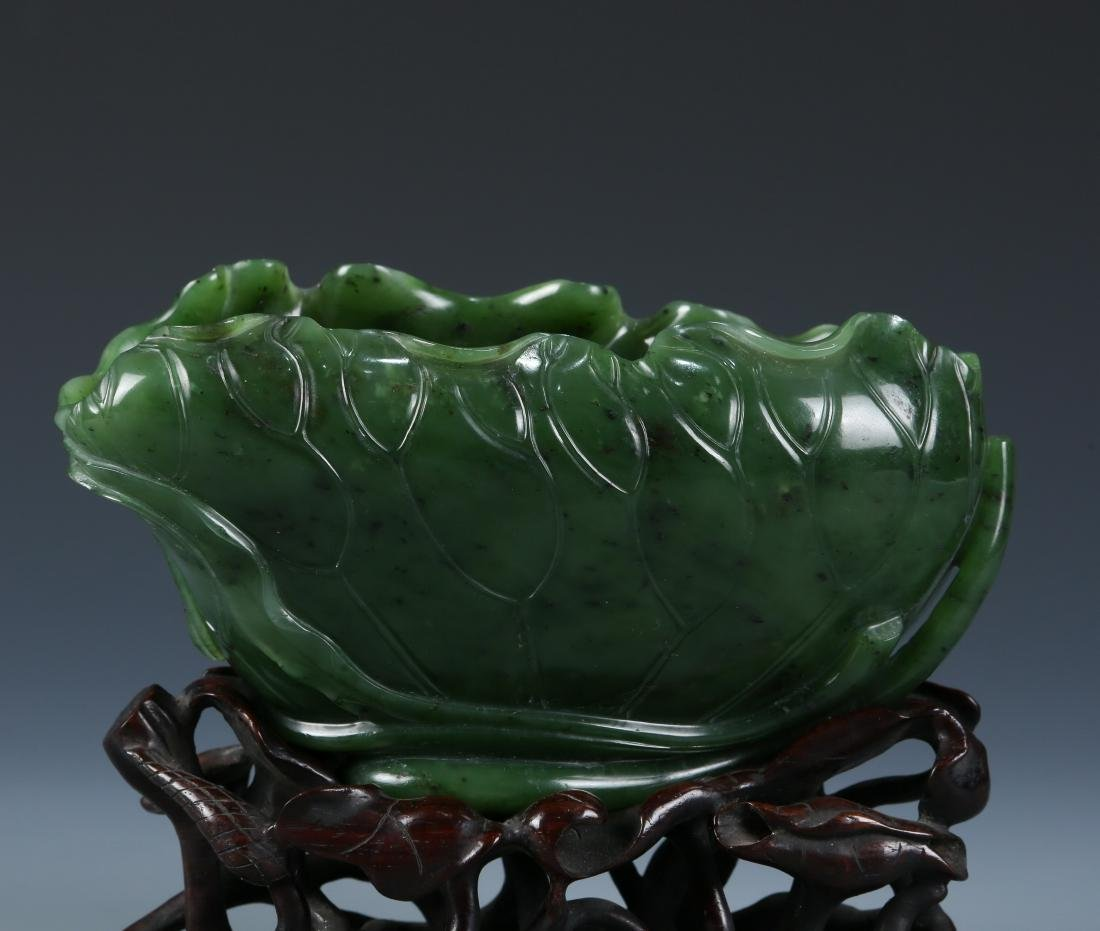 A Fine Carved Spinach Green Jade Lotus Washer - 2