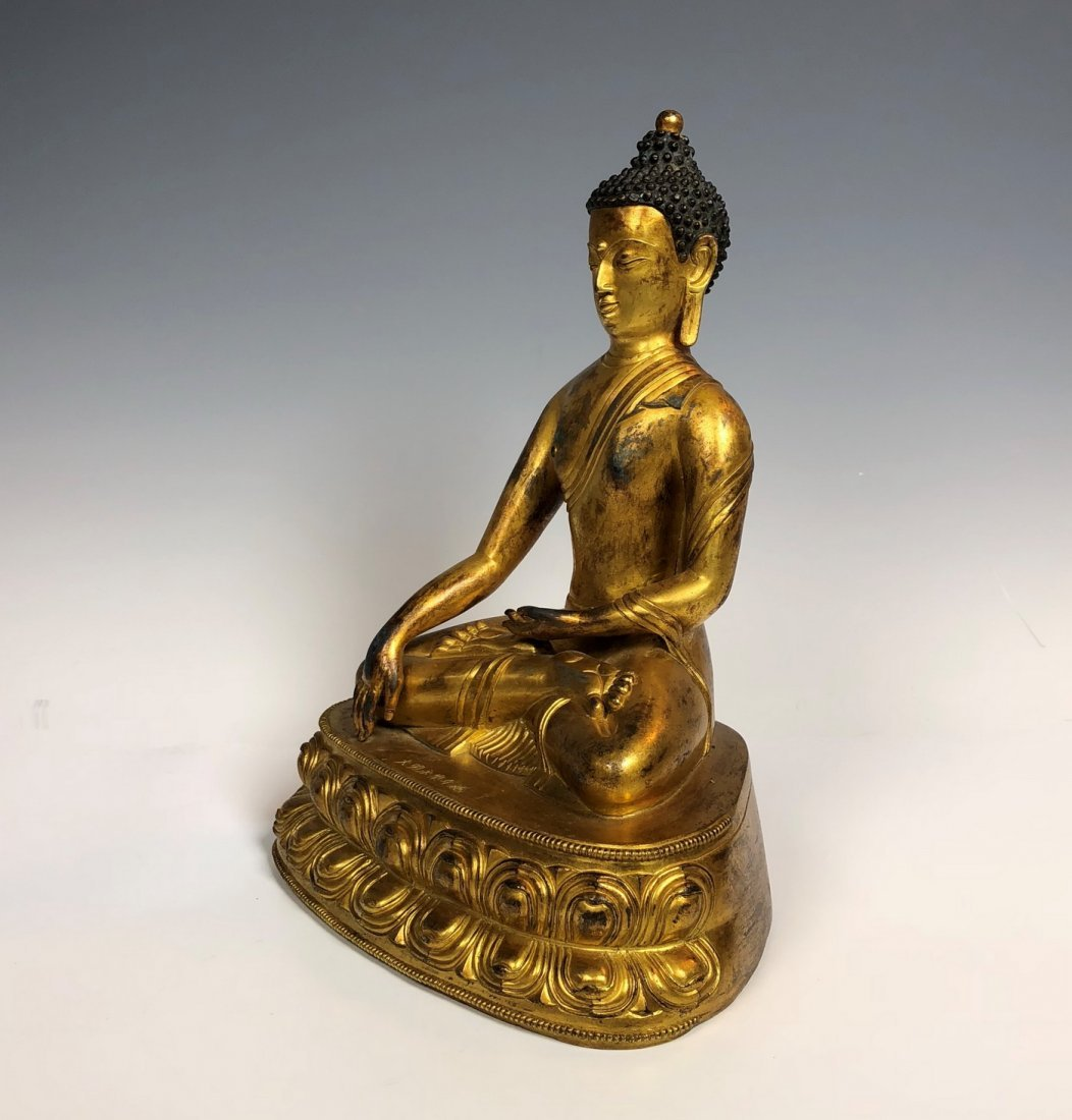 Gilt Bronze Figure Of Sakyamuni With Mark - 4