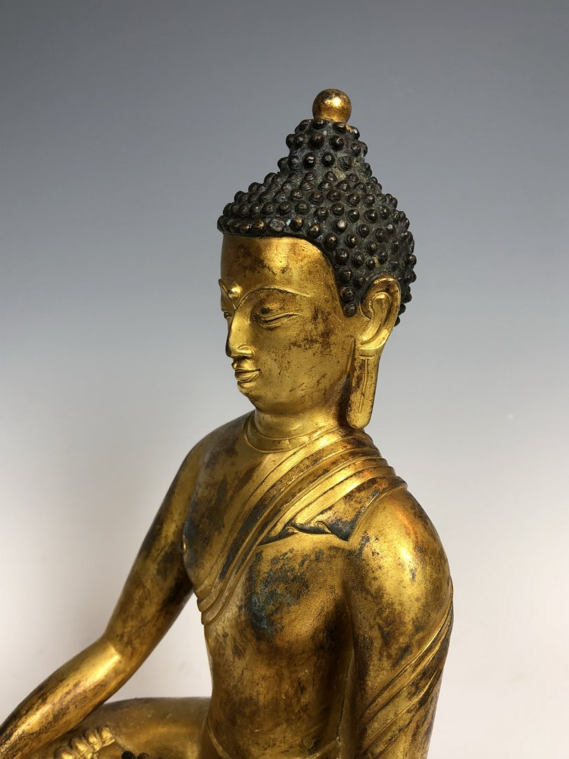 Gilt Bronze Figure Of Sakyamuni With Mark - 6