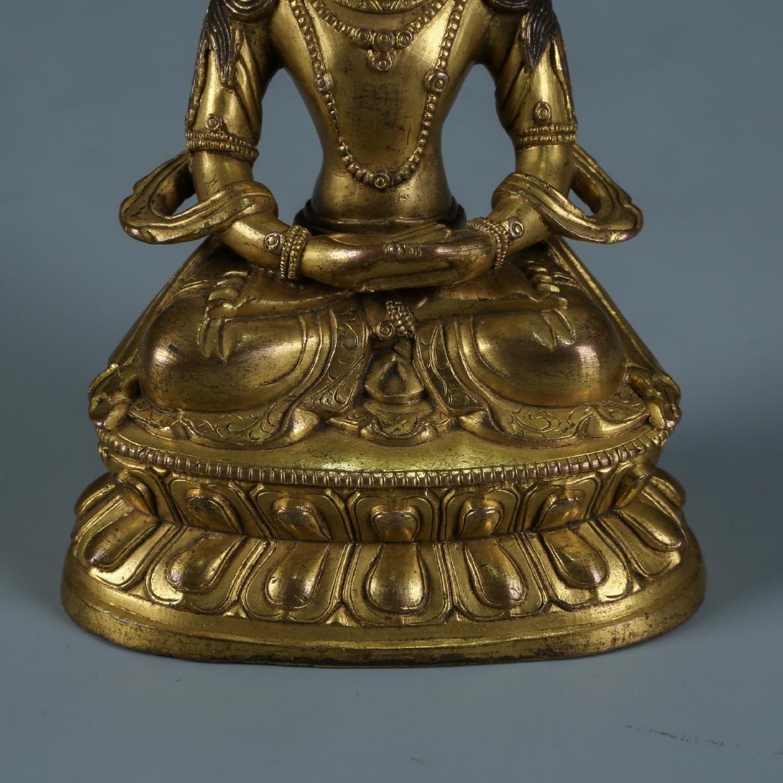 Gilt Bronze Figure of Amitayus - 3