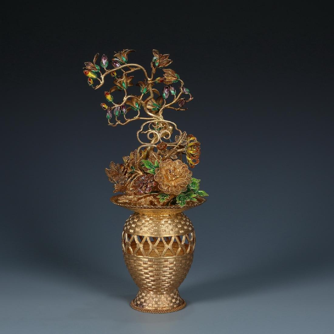 Gilt Silver Filigree Inlaid Flower Basket