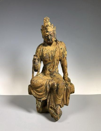 Gilt Wooden Figure Of A Seated Guan Yin