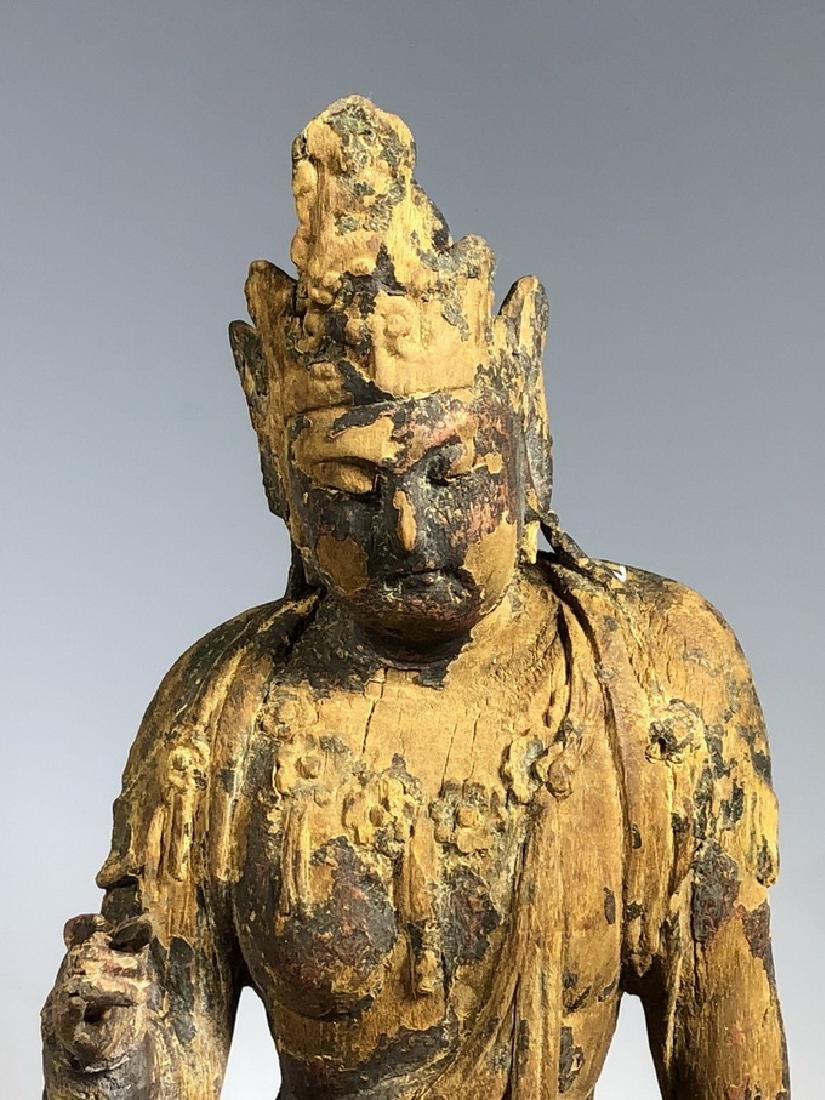 Gilt Wooden Figure Of A Seated Guan Yin - 2