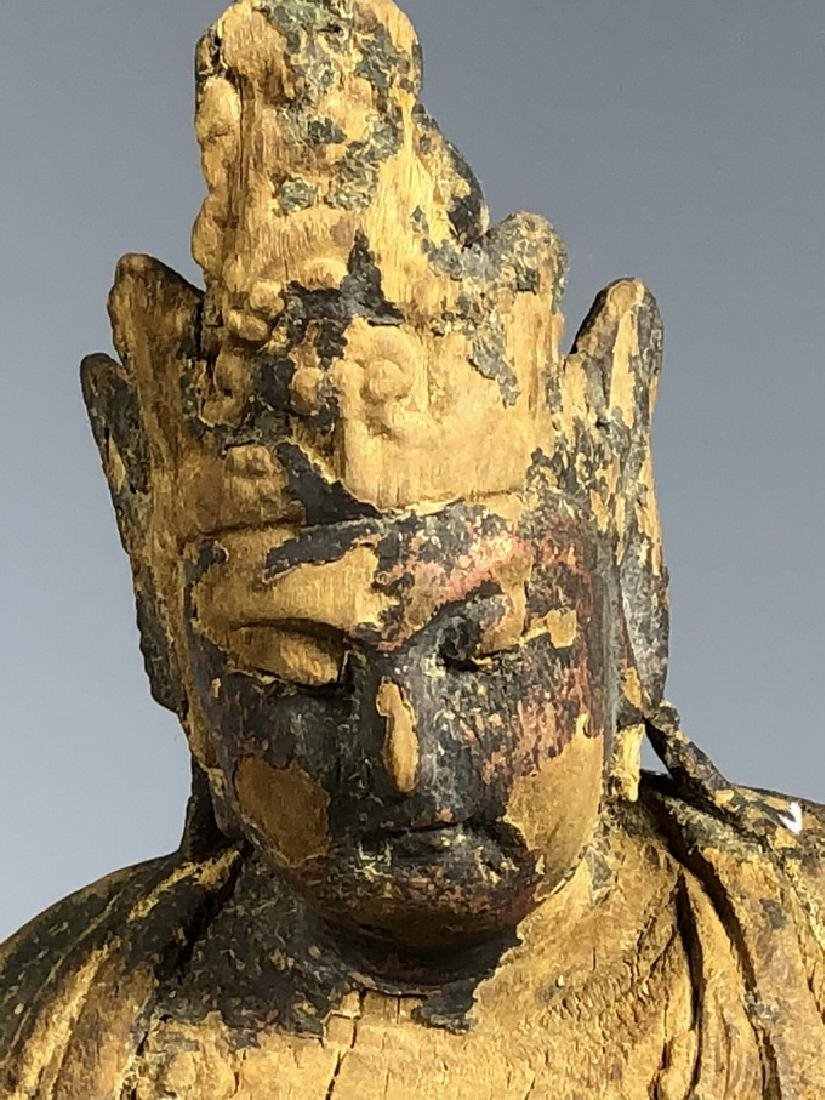 Gilt Wooden Figure Of A Seated Guan Yin - 3