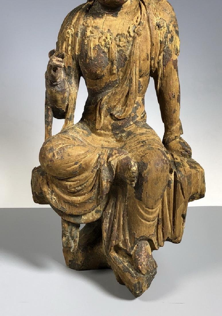 Gilt Wooden Figure Of A Seated Guan Yin - 4