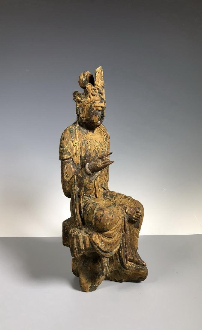 Gilt Wooden Figure Of A Seated Guan Yin - 5