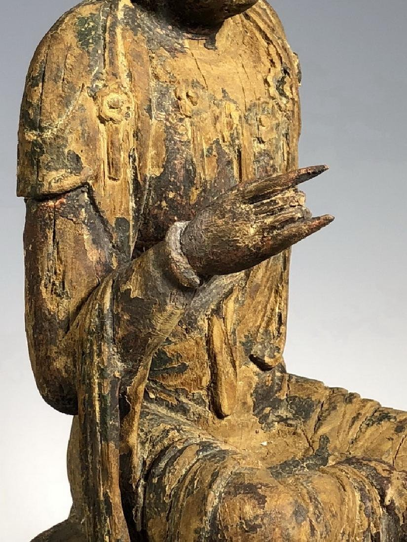Gilt Wooden Figure Of A Seated Guan Yin - 6