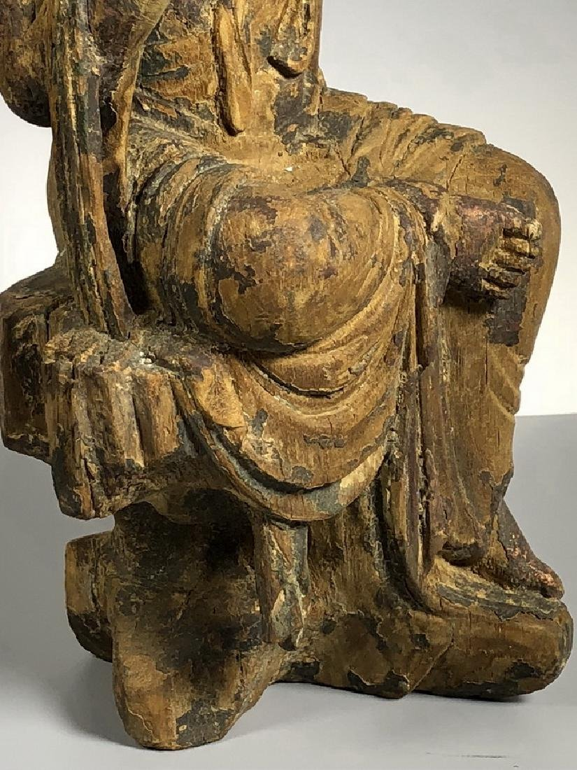 Gilt Wooden Figure Of A Seated Guan Yin - 7