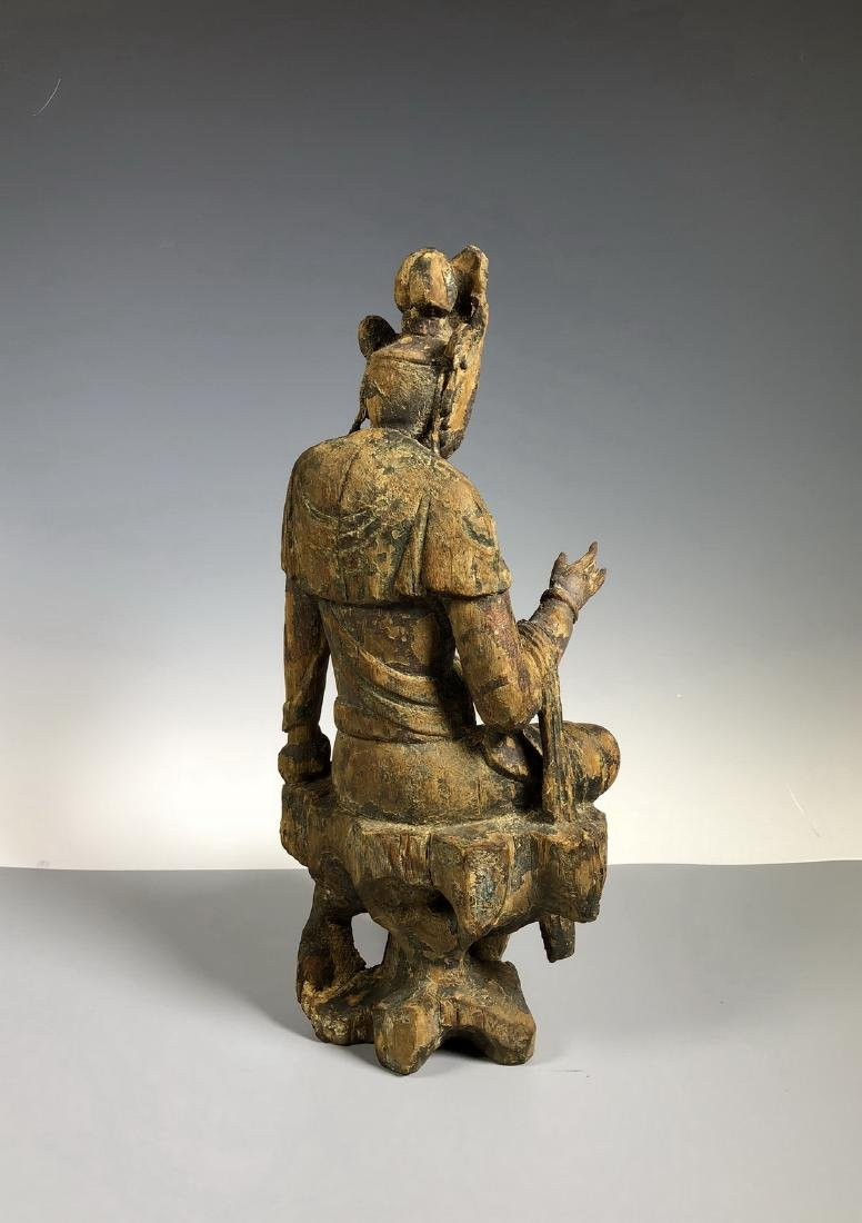 Gilt Wooden Figure Of A Seated Guan Yin - 8
