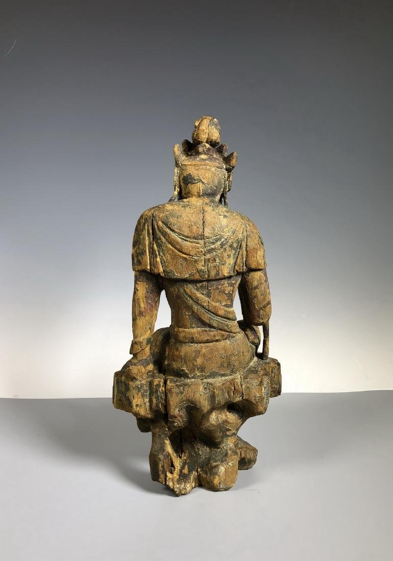 Gilt Wooden Figure Of A Seated Guan Yin - 9