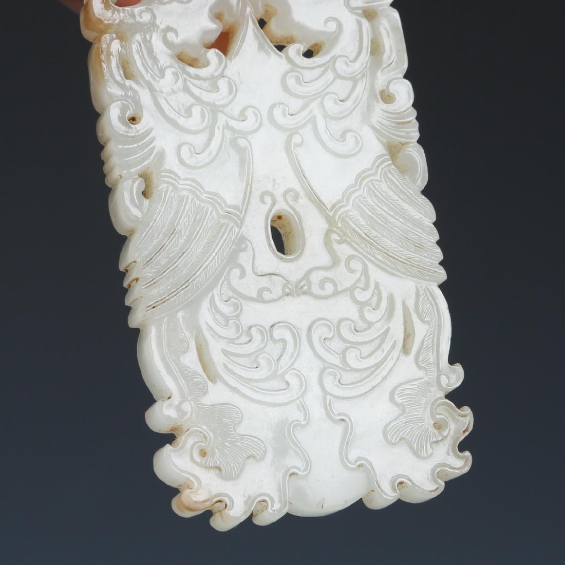 A Carved Rectangular 'Phoenix' White Jade Pendant - 6