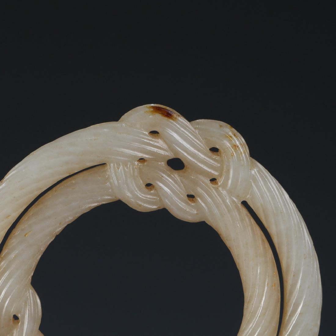 Carved White Jade Infinity Knot in Wood Hanger - 4
