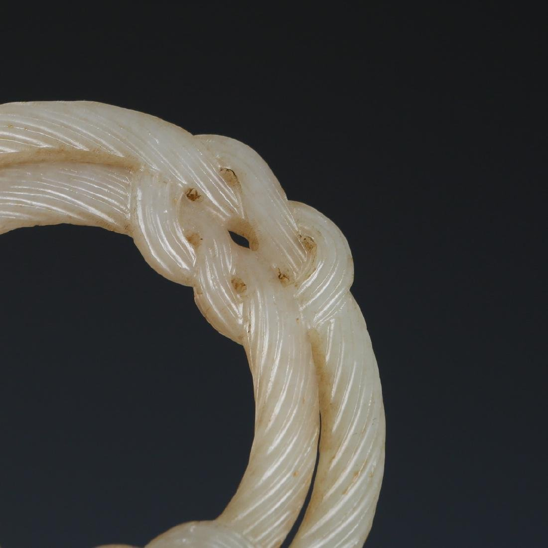 Carved White Jade Infinity Knot in Wood Hanger - 5