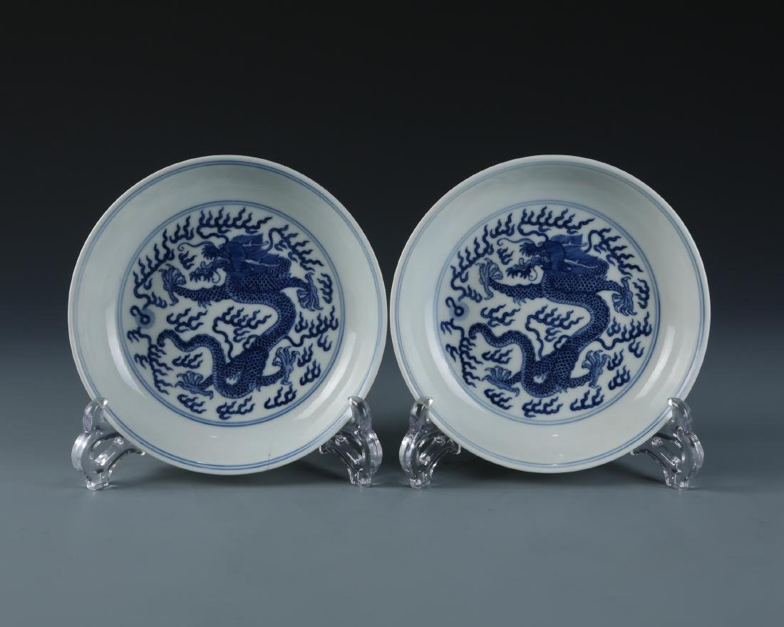 A Pair Of Blue And White Porcelain Plates