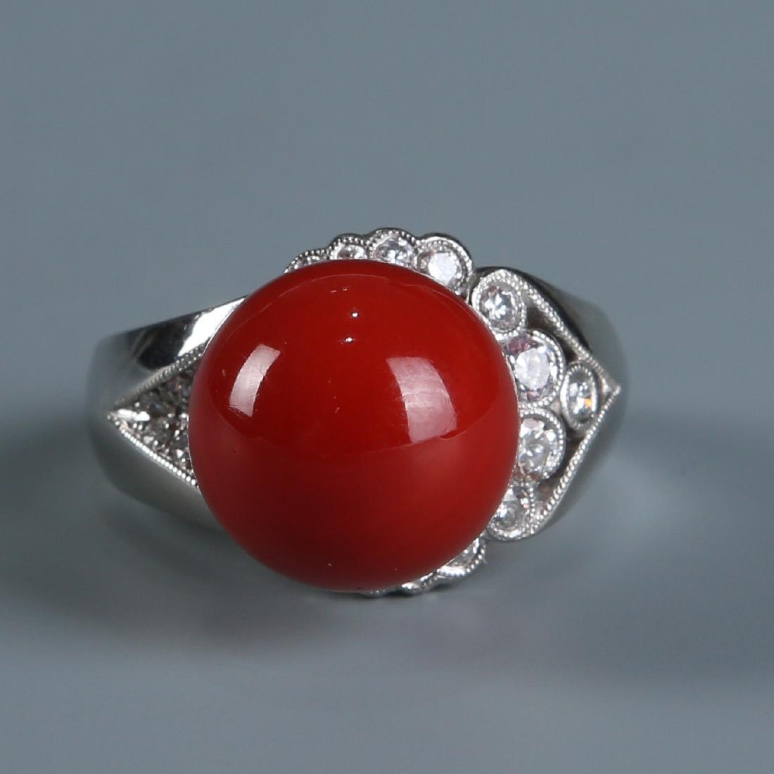 18K Natural AKA Red Coral and Diamond Ring - 2