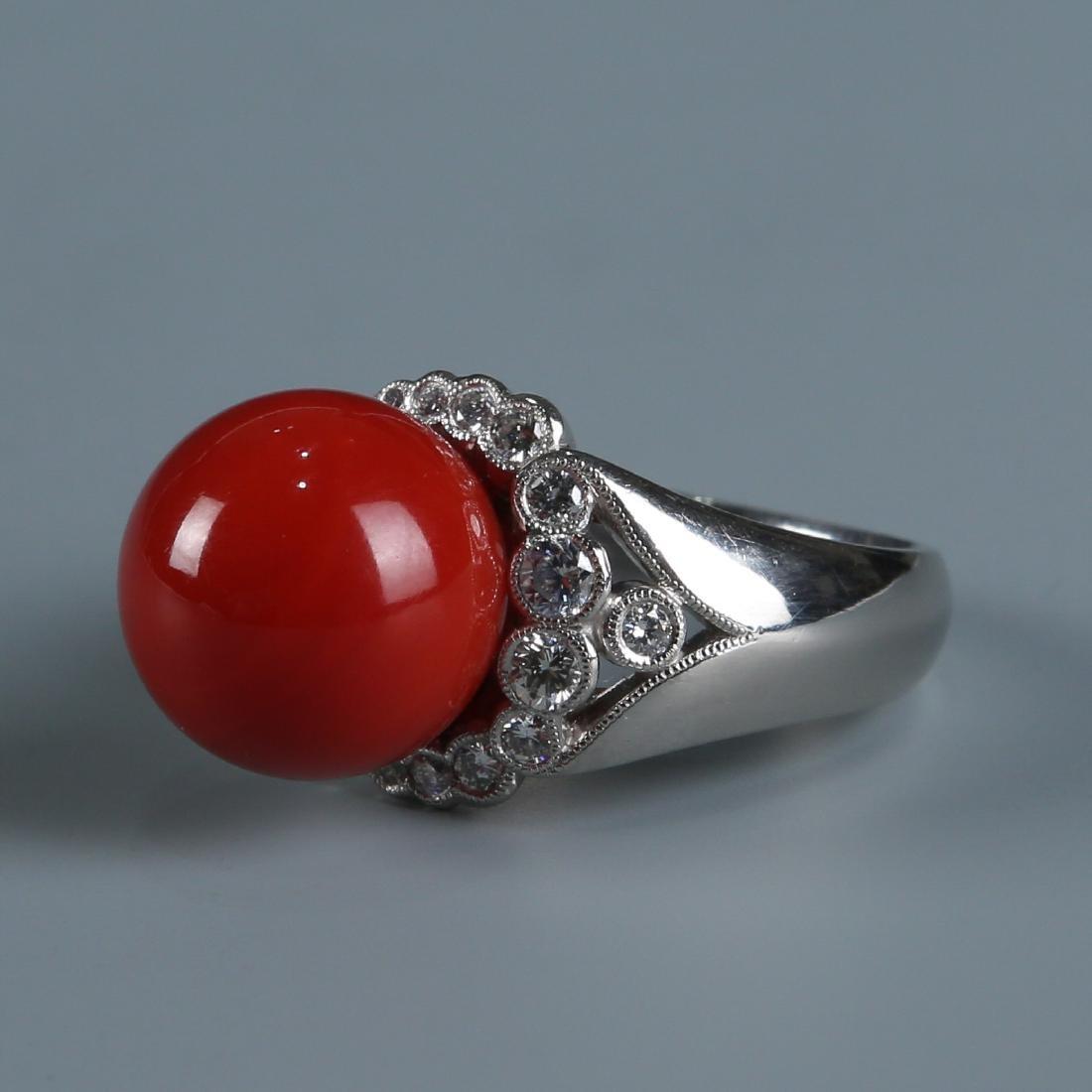 18K Natural AKA Red Coral and Diamond Ring - 3