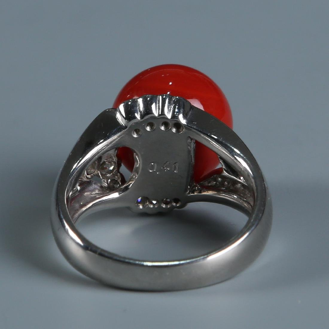 18K Natural AKA Red Coral and Diamond Ring - 4