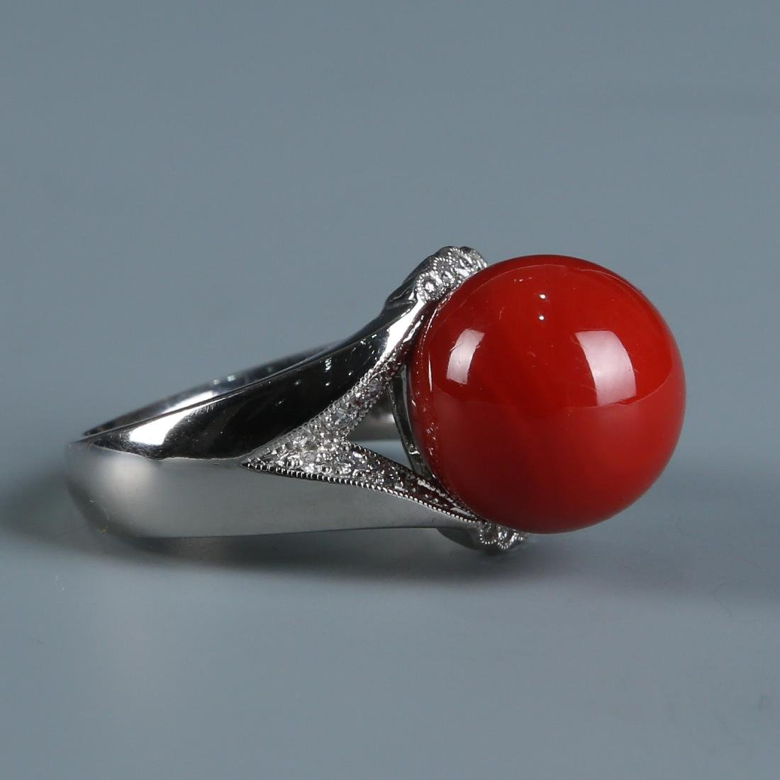 18K Natural AKA Red Coral and Diamond Ring - 6