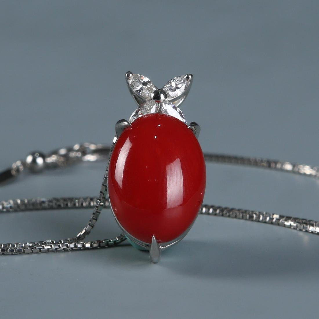 18K Natural AKA Red Coral and Diamond Necklace