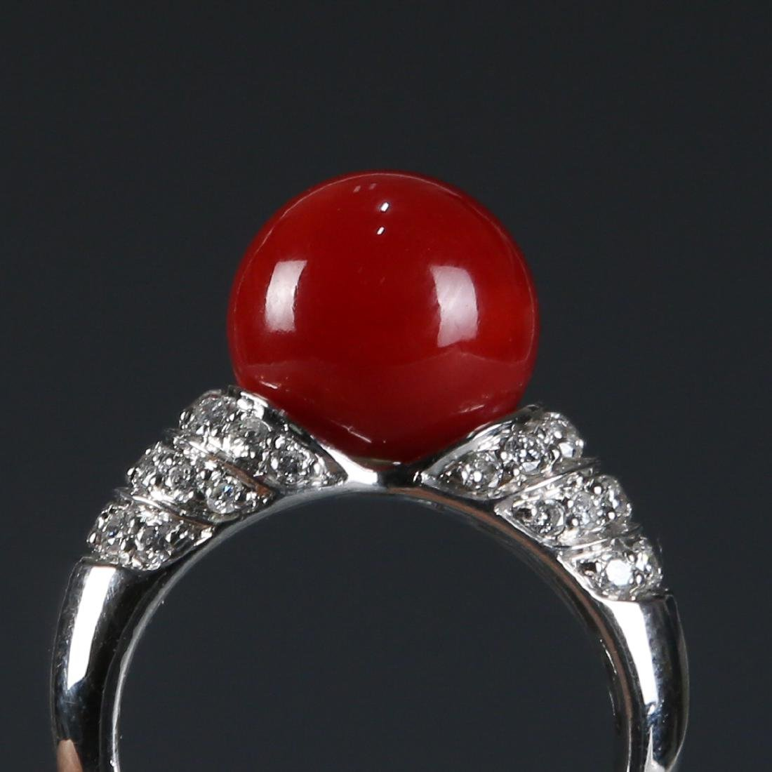 18K Natural AKA Red Coral and Diamond Ring