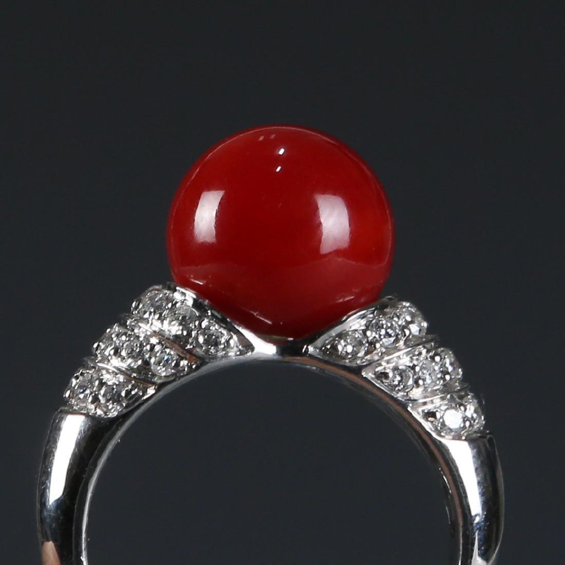 18K Natural AKA Red Coral and Diamond Ring