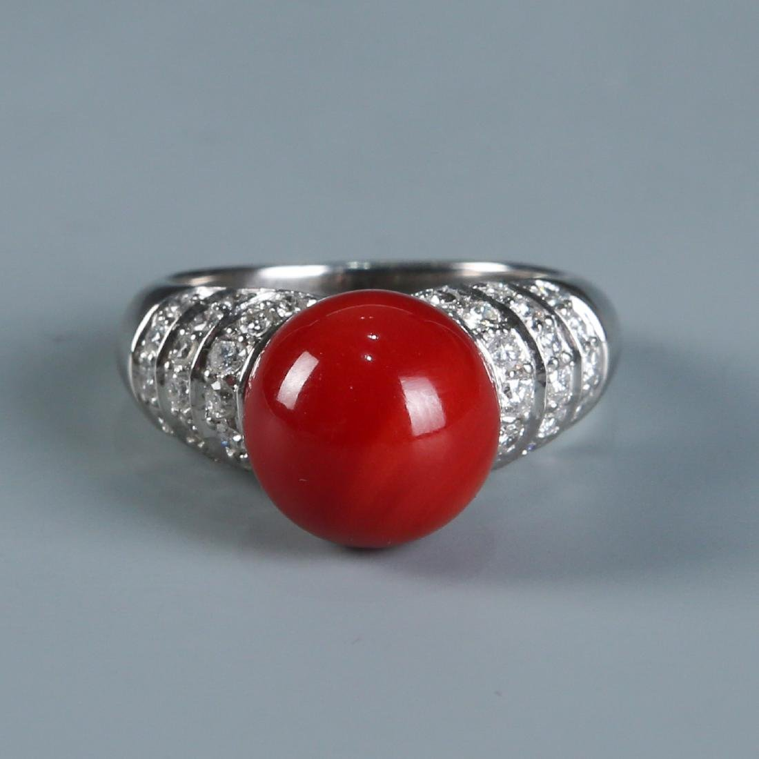 18K Natural AKA Red Coral and Diamond Ring - 2