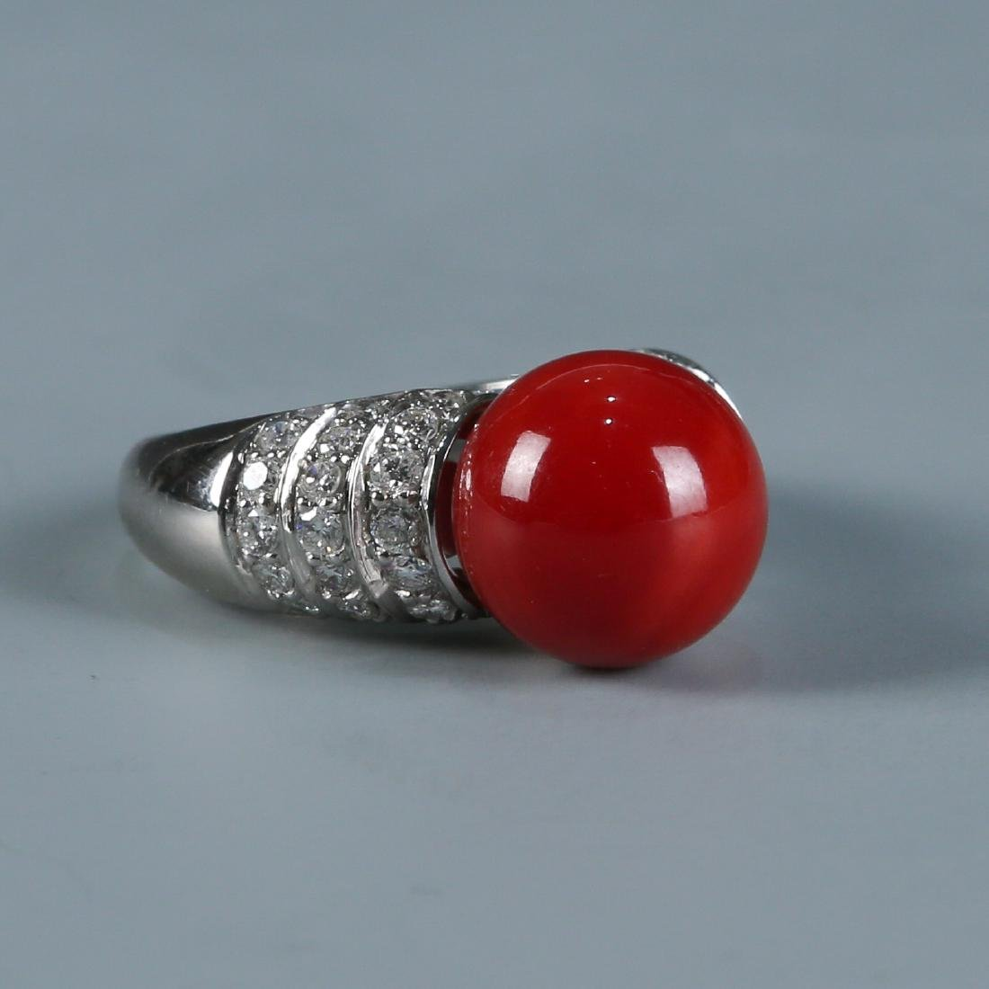 18K Natural AKA Red Coral and Diamond Ring - 3
