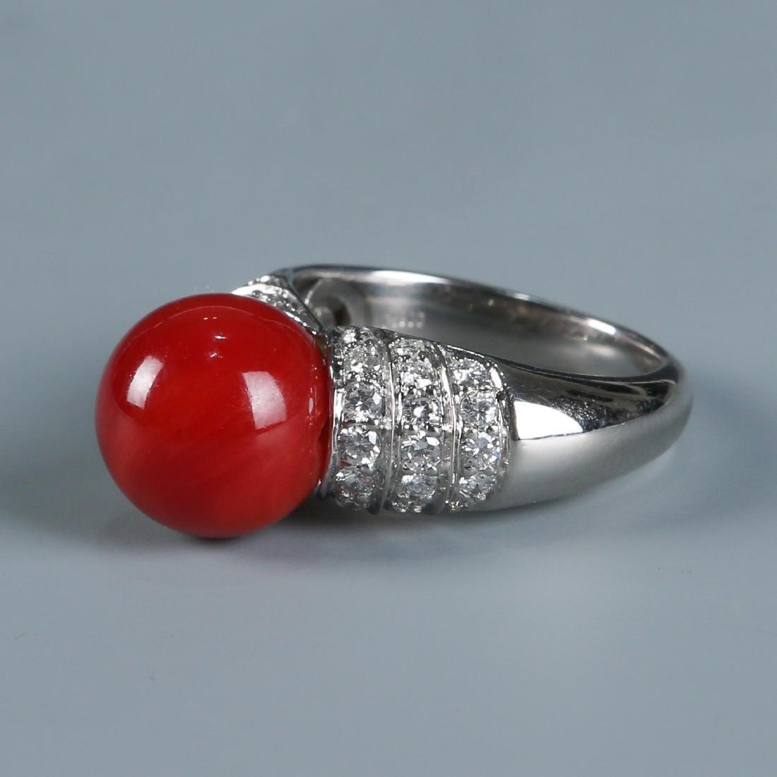18K Natural AKA Red Coral and Diamond Ring - 4