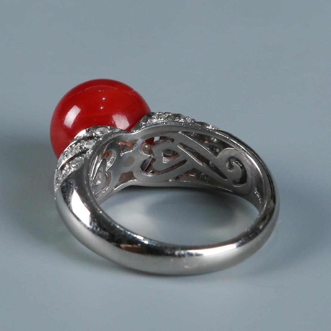 18K Natural AKA Red Coral and Diamond Ring - 5