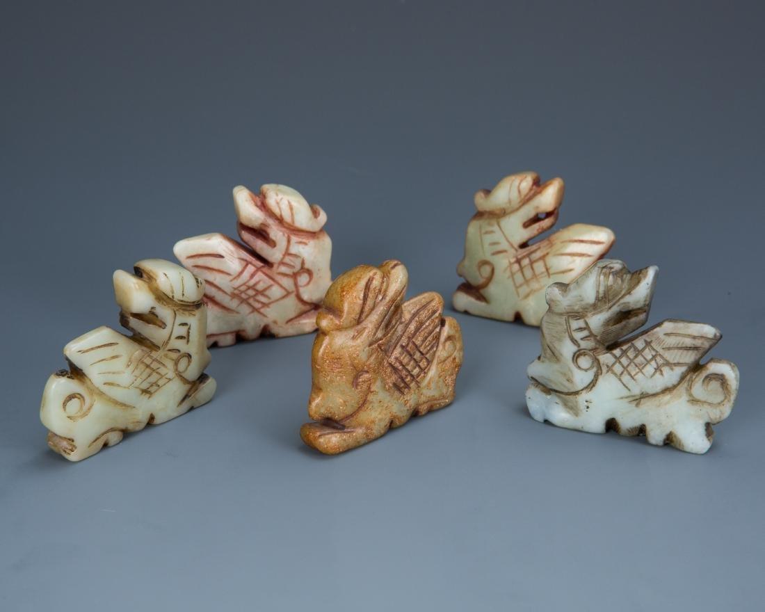 Estate Sale: Set of Five Carved Jade Animals