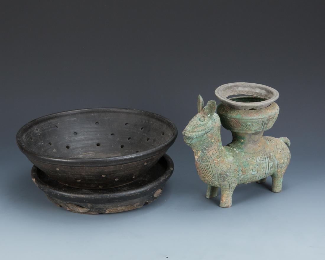 Estate Sale: Metal Colander and Bronze Pack Animal - 10
