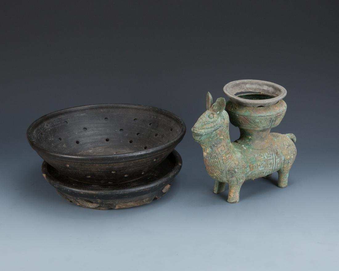 Estate Sale: Metal Colander and Bronze Pack Animal