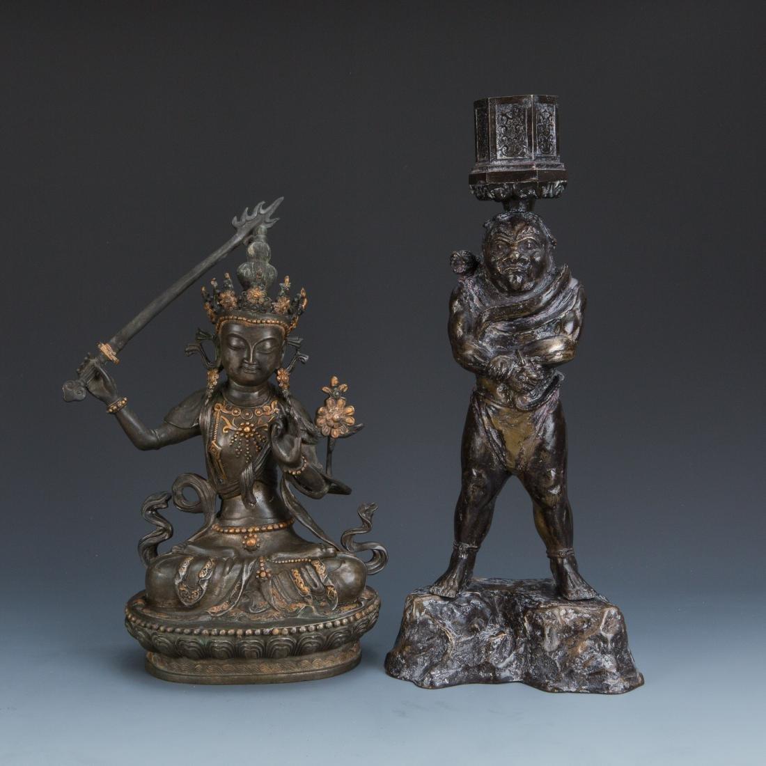 Estate Sale: Gilt Bronze Figure of Manjushri & Guardian