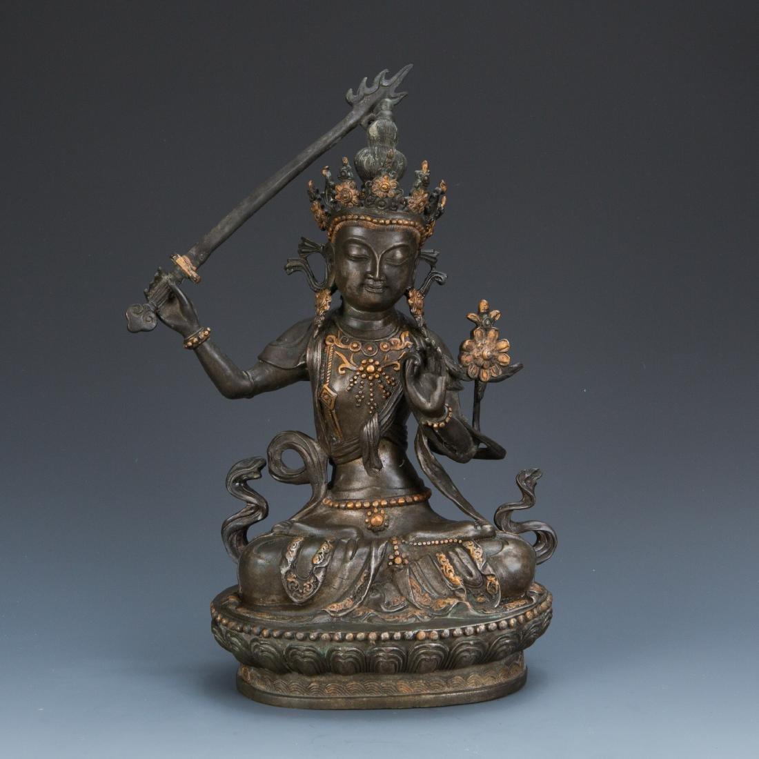 Estate Sale: Gilt Bronze Figure of Manjushri & Guardian - 2
