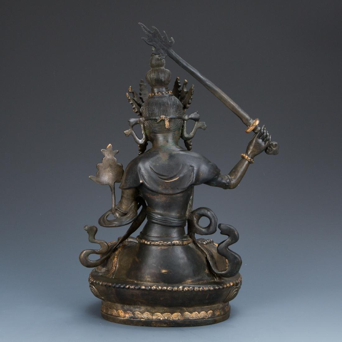 Estate Sale: Gilt Bronze Figure of Manjushri & Guardian - 3