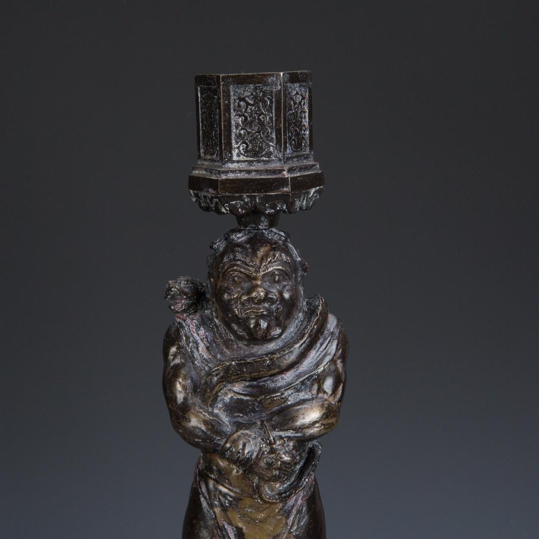 Estate Sale: Gilt Bronze Figure of Manjushri & Guardian - 5