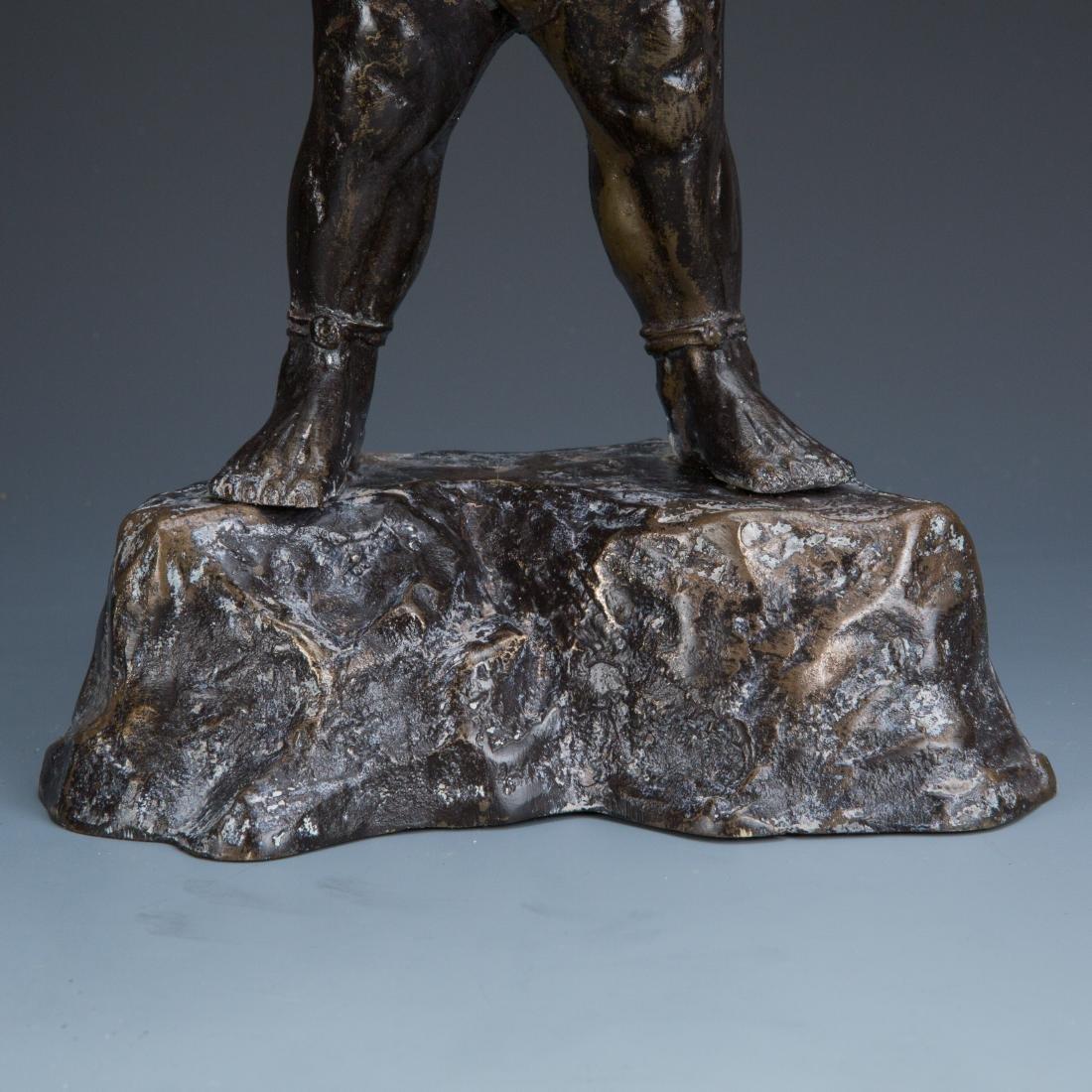 Estate Sale: Gilt Bronze Figure of Manjushri & Guardian - 6