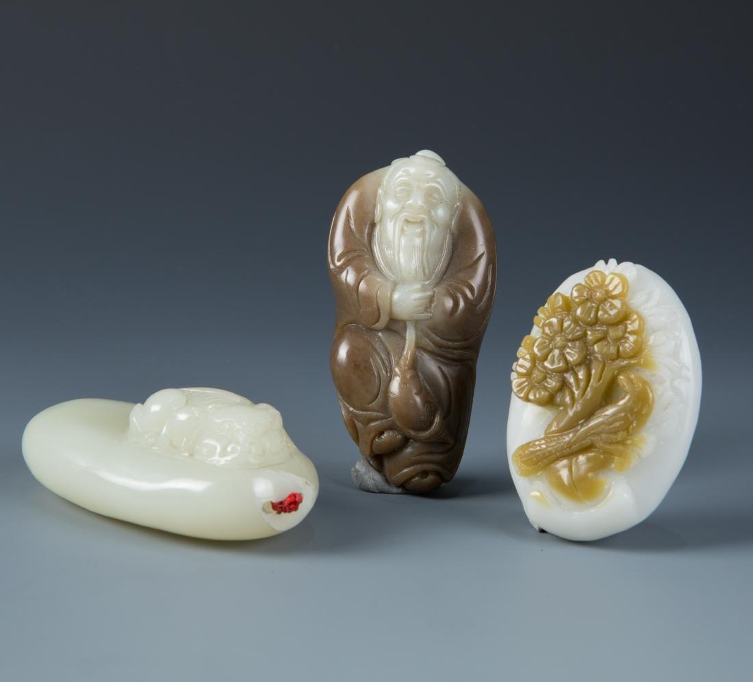 Estate Sale: 3pc Carved Jade Dragon Scholar and Flower