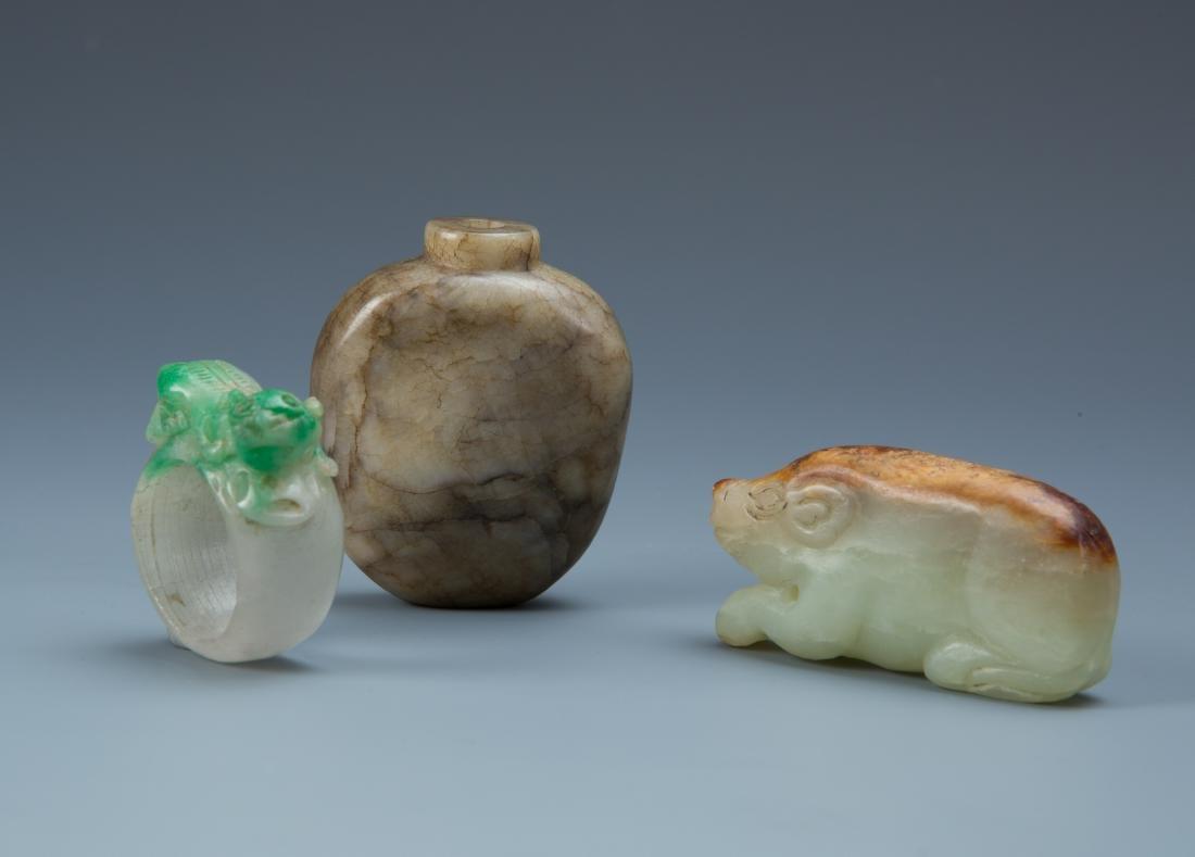 Estate Sale: 3pc Carved Jade Ring, Snuff Bottle & Swine