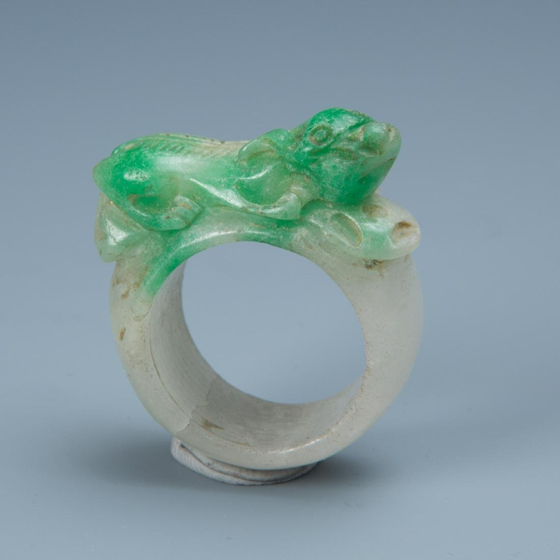Estate Sale: 3pc Carved Jade Ring, Snuff Bottle & Swine - 2