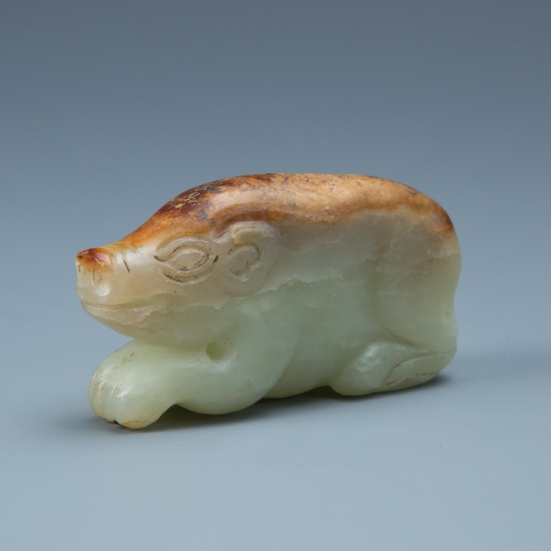 Estate Sale: 3pc Carved Jade Ring, Snuff Bottle & Swine - 3