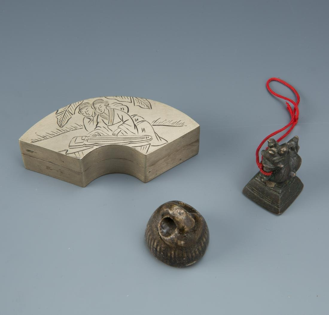 Estate Sale: 3pc Ink Box Carved Weight & Dragon Seal