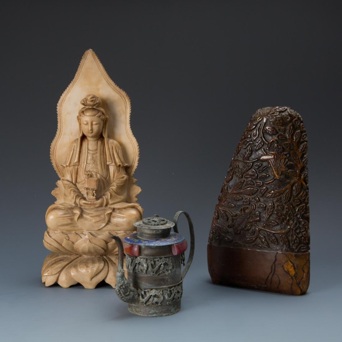 Estate Sale: Carved Guan Yin Brown Stone Tea Pot