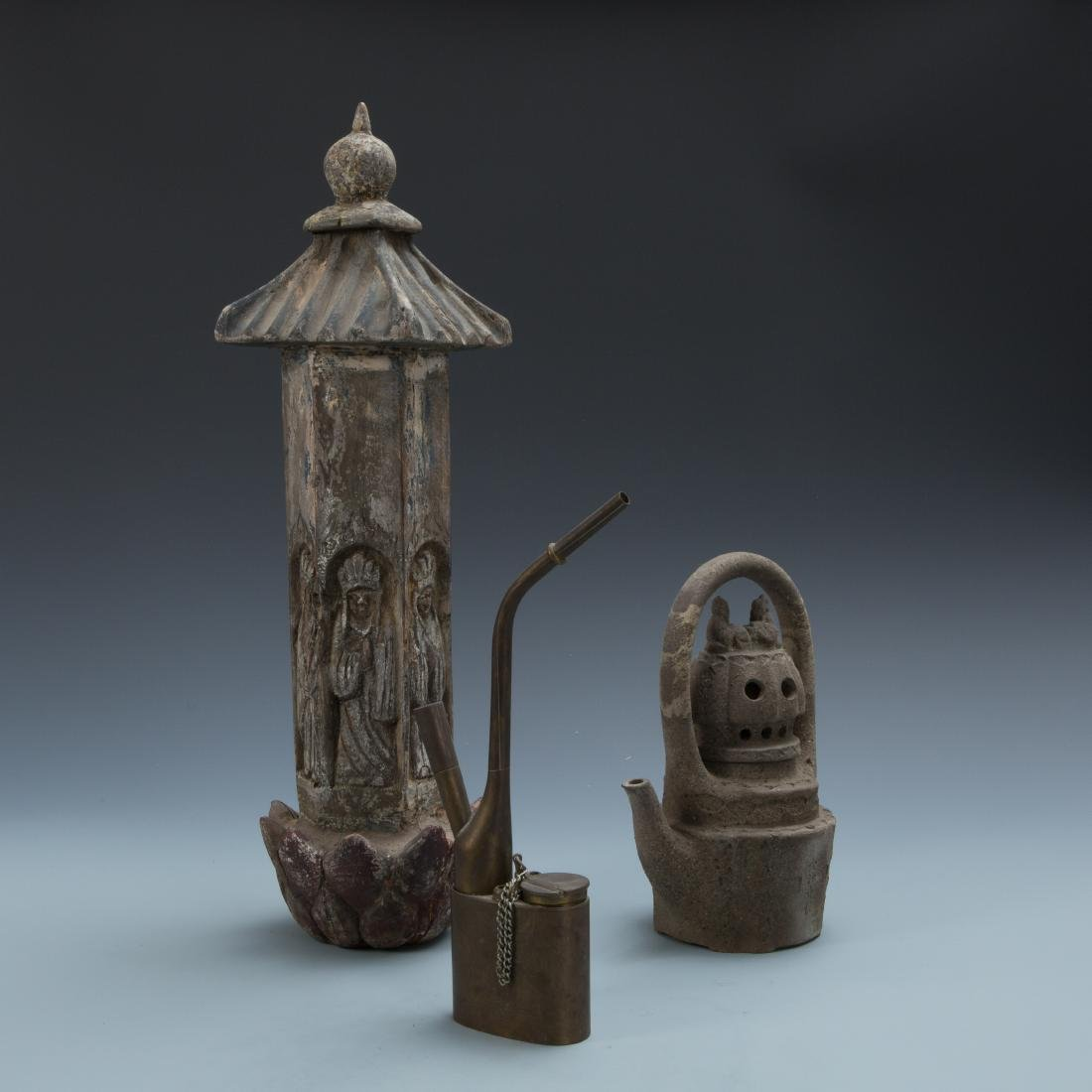 Estate Sale: Opium Pipe Carved Wood Statue Tea Pot