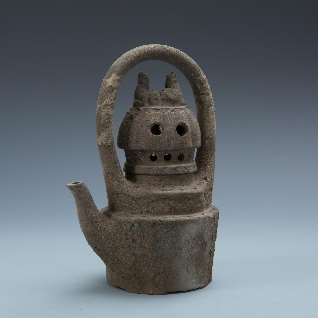 Estate Sale: Opium Pipe Carved Wood Statue Tea Pot - 2