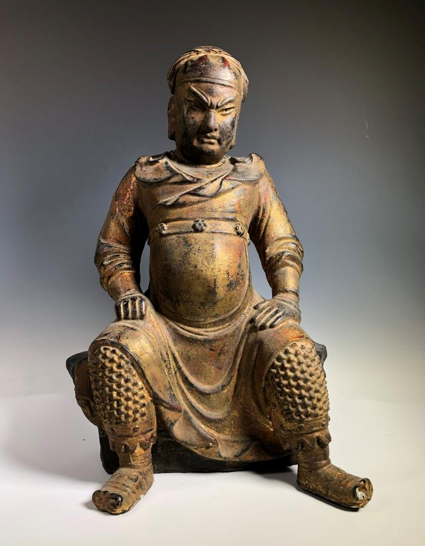 A Very Rare Gilt Figure of Guandi