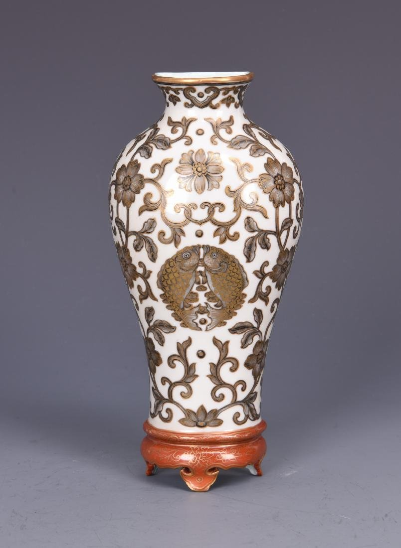 Porcelain Wall Vase with Iron Colored Flower with mark