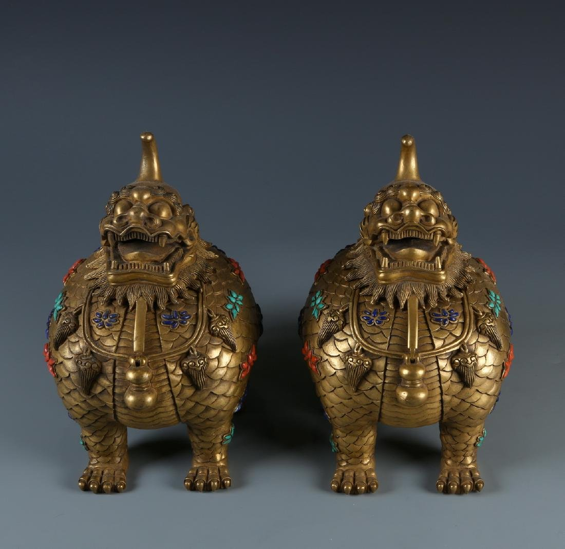 Pair of Gilt-Bronze 'Lion' Censer with Inlaid Stone