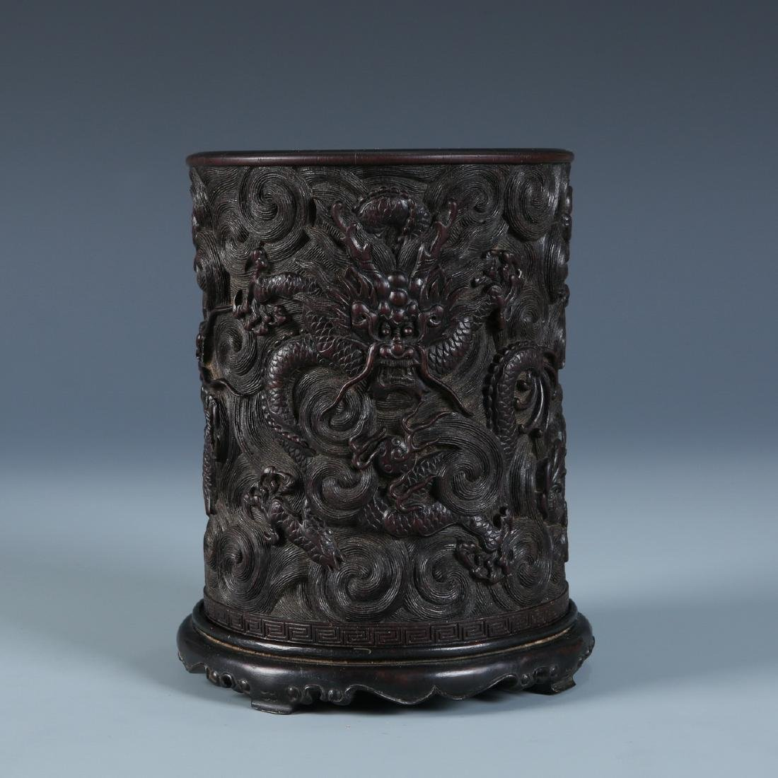A Finely Carved Zitan 'Dragon' Brush Pot