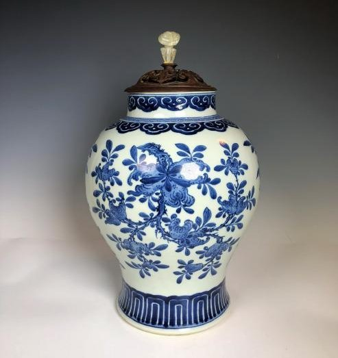 Chinese Blue & White Porcelain Jar With Wood Cover